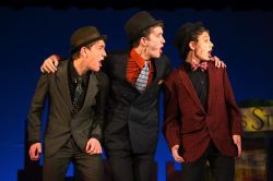 Ben Topa as Benny Southstreet, Des O'Brien as Nathan Detroit and Zac Nachbar-Seckel as Nicely Nicely Johnson