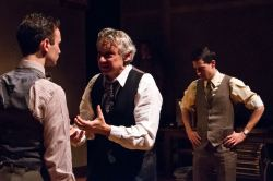 Stephen Russell Murray at Nathan Leopold, Michael Kramer as Clarence Darrow, and Alex Mandell as Richard Loeb