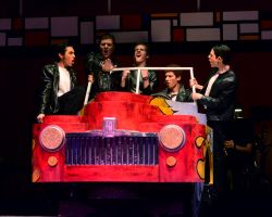 Eric Teran (Danny);  Thomas Richards (Sonny); Noah Habenstreit (Doody);  Daniel Zucker (Kenickie);  Carlos Castillo (Roger): 'Greased Lightining'