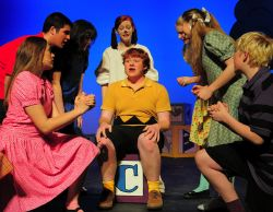 Melissa Haberle (Sally), Harris Fitzgerel (Linus), Gwen Levey (Lucy), Deanna Gowland (Snoopy), Andy Riddle (Charlie Brown), Skye Lindberg (Patty), Debbie Aderton (Peggy-Jean), and Mark Slough (Schroeder)