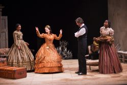 Sameerah Luqmaan-Harris as Elizabeth Keckly, Naomi Jacobson as Mary Todd Lincoln, Thomas Adrian Simpson as Abraham Lincoln and Joy Jones as Ivy