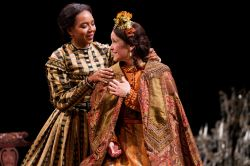 Sameerah Luqmaan-Harris as Elizabeth Keckly and Naomi Jacobson as Mary Todd Lincoln