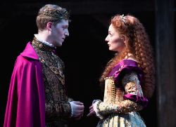 Zach Appelman (Henry) and Katie deBuys (Katherine of France) speaking the same language