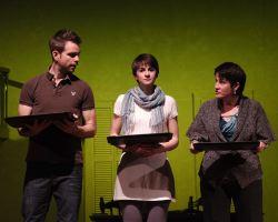 Matt Baughman (Mike Clark), Rebecca Phillips (Clara Brandt), and Melanie Bales (Dr. Gertrude Ladenburger)