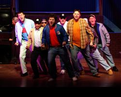 Marcus Fisk (Reg), Michael Gale (Malcolm), Rene Keith Flores (Marty), Ben Norcross (Ensemble), Dan Deisz (Teddy), Christopher Harris (Dave), and Michael Bagwell (Tony)