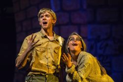 Bobby Strong (Drew Hare) and Josephine 'Ma' Strong (Emily Jackson) sing 'What is Urinetown?'