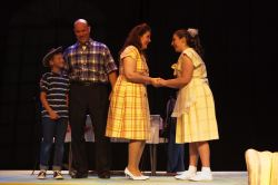 Owen Orwig (Randolph Macafee), Dave Ermlick ( Mr. Macafee), Danica Shook (Mrs. Macafee), and Megan Griggs (Kim Macafee)