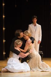 Heather Wood as Perdita, Mark Harelik as Leontes, Hannah Yelland as Hermione and Todd Bartels as Florizel (background)