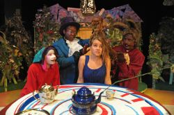 Nancy Brooks (Dormouse), Tre Vaughn Allison (Mad Hatter) Sasha Koch (Alice), Rob McPherson (March Hare)