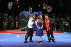 Aaron Brackett (The White Knight), Sasha Koch (Alice), Christian Osborne (The Red Knight)