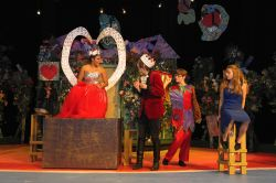 Sisi Rojas (The Queen of Hearts), Alex Collins (The King of Hearts), Josh Movius (The Knave of Hearts), Sasha Koch (Alice)