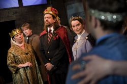 Cam Magee (Elinor), Bruce Alan Rauscher (Richard Plantagenet, the Bastard), Ian Armstrong (King John), Charlotte Akin (Queen Felipe of France) and Connor J. Hogan (Arthur)