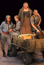 Nehal Joshi as Swiss Cheese, Erin Weaver as Kattrin, Kathleen Turner as Mother Courage and Nicholas Rodriguez as Eilif