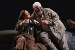 Kathleen Turner as Mother Courage and Jack Willis as the Cook