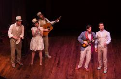 Fiasco Theater singing 'Who is Sylvia?' Zachary Fine, Emily Young, Andy Grotelueschen, Paul L. Coffey, and Noah Brody