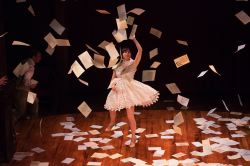 Emily Young (Sylvia) showers the stage with letters