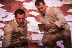 Valentine (Zachary Fine, left) and Proteus (Noah Brody) awash with letters