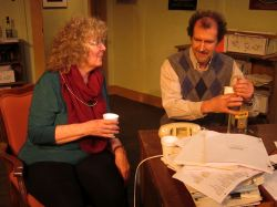 Author Tina Fike (Linda Hirsch) and dramaturge Jim Foley (Nick Sampson) share theater war stories