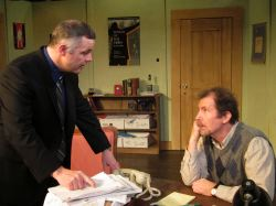 Business manager Mike Braschi (Chris Hawkins) and dramaturge Jim Foley (Nick Sampson) have yet another confrontation