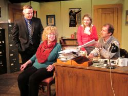 Mike Braschi (Chris Hawkins), Tina Fike (Linda Hirsch), Heidi Bishop (Emily Sucher), and Jim Foley (Nick Sampson) discuss aspects of Tina's new play