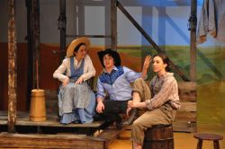 Jordan Reilly as Aunt Eller, Billy Weber as Curly, Amelia Heesen as Laurey