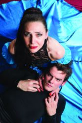 Irina Tsikurishvili as Gertrude and Alex Mills as Hamlet