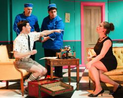 Tony Strowd as Jonathan, Manolo Santalla and Jorge A. Silva as bellboys and Robin Reck as Madam Rosepettle