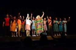 In the climax of 'I Know Where I've Been,' Motormouth Maybelle (Aaliyah Dixon) inspires Tracy, Link, Penny, her children Seaweed & Little Inez and all the members of the Detention Ensemble and the Dynamites (far right)