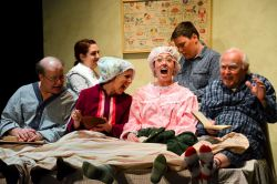 Bob Maurer as Grandpa Joe, Toby Nelson as Mrs. Bucket, Nora Zanger as Grandma Josephine, Emily Franks as Grandma Georgina, Adam LeKang as Charlie Bucket, and Joseph LeBlanc as Grandpa George