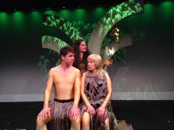 Adam (Brit Herring), Eve (Lynn Steinmetz) and Serpent (Laura Giannarelli)